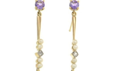 A pair of amethyst, seed pearl, diamond and...
