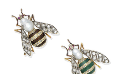 A pair of enamel, cultured pearl, ruby and diamond imperial bee brooches