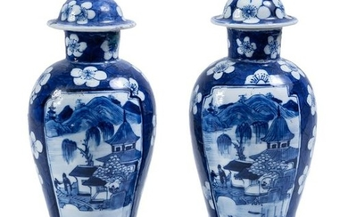 A pair of two Chinese blue-and-white porcelain vases...