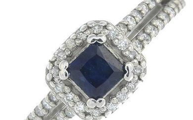 A sapphire and diamond cluster ring.Estimated total