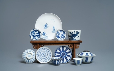 A varied collection of Chinese blue and white Vietnamese market 'Bleu de Hue' wares, 19th C.