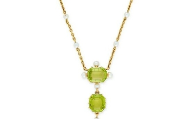 AN ANTIQUE PERIDOT AND PEARL NECKLACE, EARLY 20TH