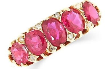 AN ANTIQUE RUBY AND DIAMOND FIVE STONE RING set with