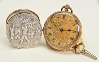 AN EARLY 20TH CENTURY GOLD POCKET WATCH AND A PILL BOX, the ...