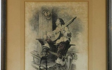 ANTIQUE ENGRAVED PLATE OF A GUITAR PLAYER BY HALL