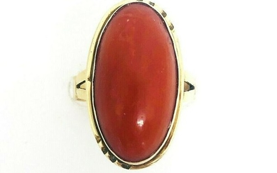 ANTIQUE Ox Blood Red Coral Yellow Gold Ring
