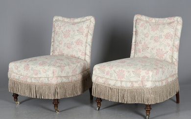 ARMCHAIRS, a pair, Upholsterer style, 20th century.