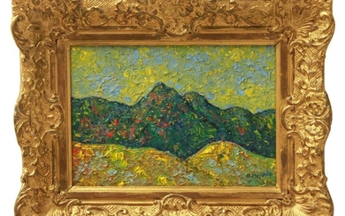 "Abraham Pariente ""Fauvist Landscape"" Oil on Board"