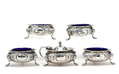 An Assembled English Silver Five Piece Condiment Set
