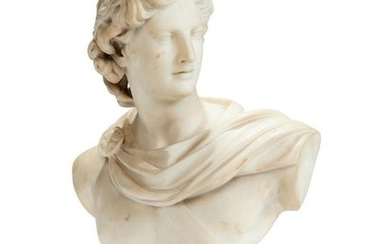 An Italian sculpted white marble bust of Apollo Belvedere, 19th century