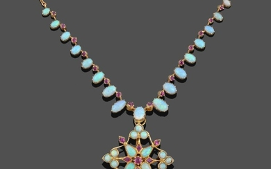 An Opal and Ruby Necklace with a Detachable Opal and...