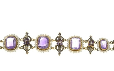 An amethyst and seed pearl bracelet.French marks.Length 18.5cms....
