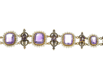 An amethyst and seed pearl bracelet.