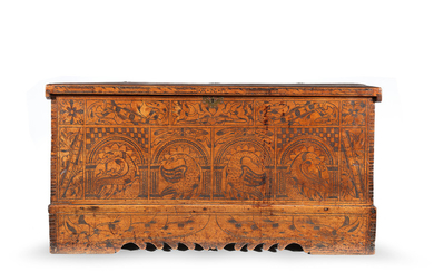 An early 17th century boarded cypress-wood and 'pitch'-decorated chest, North Italian