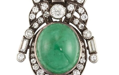 An emerald and diamond brooch, the oval...