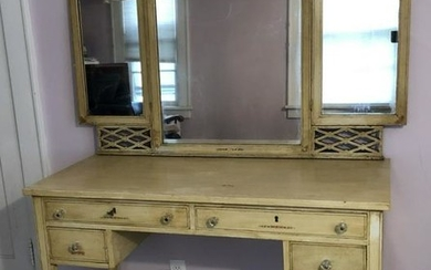 Antique Edwardian Hand Painted Mirrored Vanity