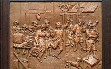 Antique copper Dutch scene plaque in relief, 10 3/4 x