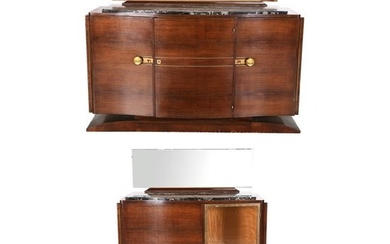 Art Moderne Mahogany Sideboard with Black Marble Top