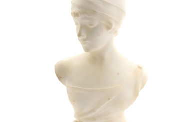 Artist unknown, 20th century: A white alabaster bust of a lady with turban. Signed Pittaluga. H. 49 cm.