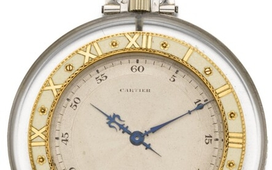 CARTIER/EUROPEAN WATCH & CLOCK CO., INC. | A VERY FINE ROCK CRYSTAL KEYLESS LEVER OPEN-FACED DRESS WATCH WITH PLATINUM, GOLD AND ENAMEL MOUNTS, WITH ASSOCIATED ONYX, PEARL AND DIAMOND-SET PENDANT CHAIN CIRCA 1925