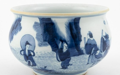 CHINESE BLUE AND WHITE PORCELAIN WASH BOWL