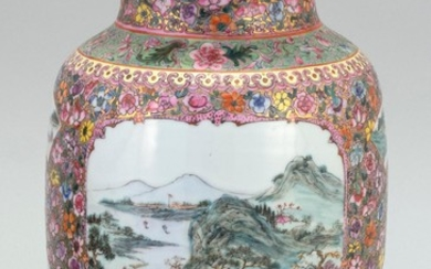 CHINESE FAMILLE ROSE EGGSHELL PORCELAIN VASE In baluster form, with famille verte figural landscape cartouches on a thousand flower...
