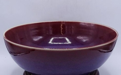 CHINESE OXBLOOD FLAMBE BOWL WITH TEAK STAND