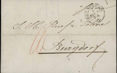 COLLECTION OF PRE-STAMP/STAMPLESS LETTERS: 1833-1862 range o...