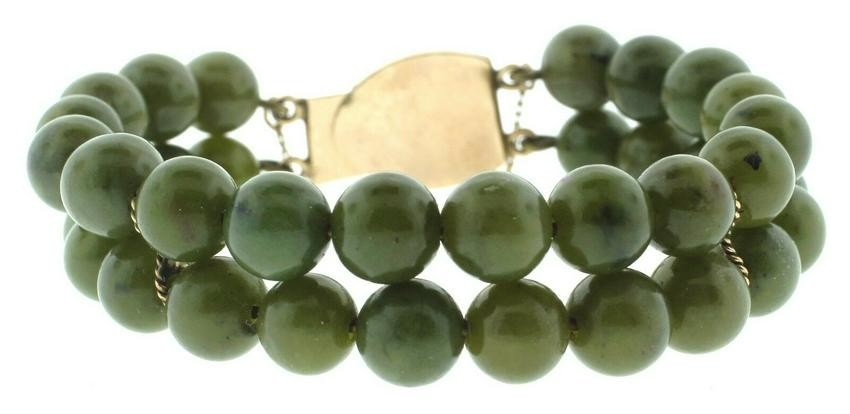 CUTE 14k Yellow Gold & Jade Bead Bracelet!