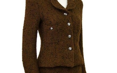 Chanel 1997 Brown Boucle Skirt Suit