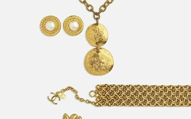 Chanel, Costume jewelry earrings, necklace, and belt