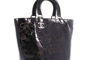Chanel Shopping Cc No.5 Perforated Medium Black Patent