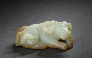 Chinese Carved Jade Ox-Form Toggle, 18-19th Century