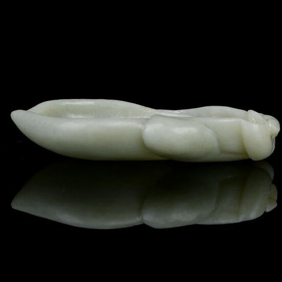 Chinese Pale Celadon Jade Melon type Brush Wash