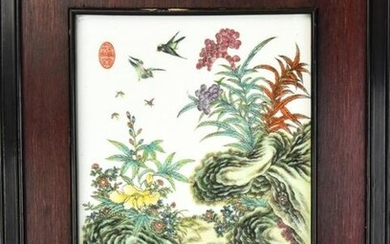 Chinese Signed & Hand Painted Porcelain Plaque