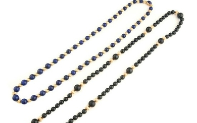 Collection of Two Multi-Stone, Yellow Gold Bead