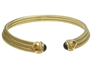 David Yurman Rare Gold Onyx Citrine 3 Rows Choker Cuff