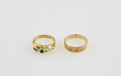 Diamond Ring and Gold and Stone Ring, 18K 6 dwt. all