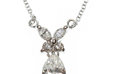 Diamond, platinum & 18k white gold necklace