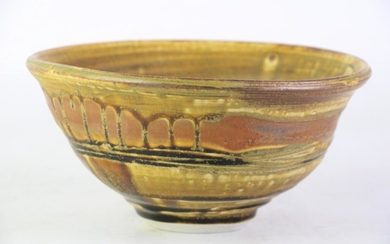 Drip Glaze Studio Pottery Bowl in Yellow Tones, unsigned, diameter 21cm