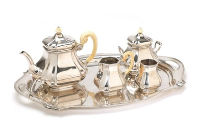 Dutch silver coffee and tea service with ivory handles. N.V. silverware, Voorschoten 1925 and 1926....