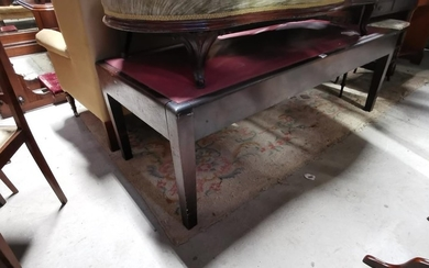 Early 20th C. mahagony Doctors bench with inset leather seat...