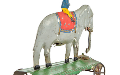 Elephant and Trainer Tin Bell Toy