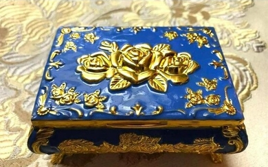 Enamel & Gilt Roses Floral Jewelry Box