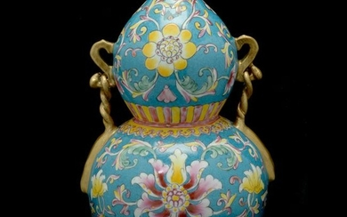 Enameled Double Gourd Vase Flanked by Gilt Handles.