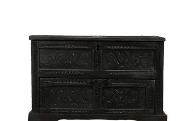 English Oak Heavily Carved Dowry, 18th C