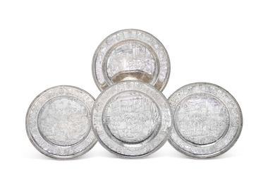 FOUR UNUSUAL DANISH SILVER PLATES, EARLY 19TH CENTURY