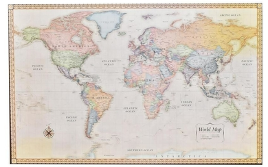 FRAMED MAGNETIC MAP OF THE WORLD