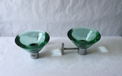 Flavio Poli Pair of Applique Murano Glass Seguso, Italy