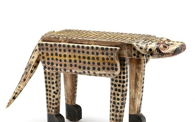 Folk Art Carved and Painted Leopard Drop Leaf Low Table